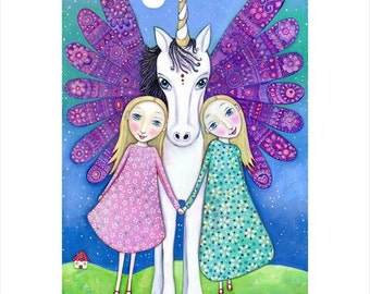 Winged Unicorn wall print blonde twins art A3 folk art print gift for twins blonde girls room art magical unicorn children's wall art