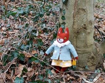 Head-in-the-clouds School Girl Fox Doll wool plush softie