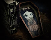 Layla, the vampire. An original mixed media collage painting on coffin shaped wood panel by Danita Art