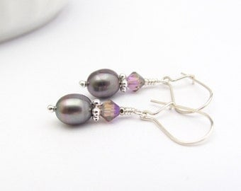 Peacock Gray Pearl Earrings, Sterling Silver, Real Freshwater Pearl Earrings, Pearl Wedding Jewelry, Bridesmaid, Gift for Her, June Stone