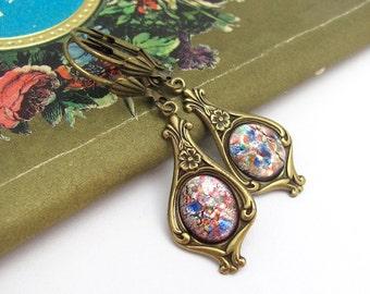 Art Deco Earrings, Art Glass Dangle Drop, Victorian Vintage Style Earrings, Bohemian Wedding, Boho Bride, Art Nouveau, Lever Back Earrings