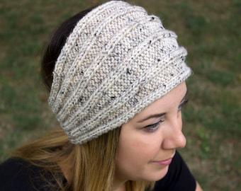 Heather Cream Headband - Panta Finnish Headband - Ear Warmers - Boho Headband - Winter Hair Accessory - Acrylic Hand Knit - White Hair Band