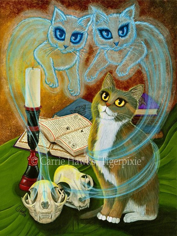 Witch Cat Art Ghosts Skulls Spells Magic Gothic Fantasy Cat Art Print 12x16 Art For Cat Lovers Gift