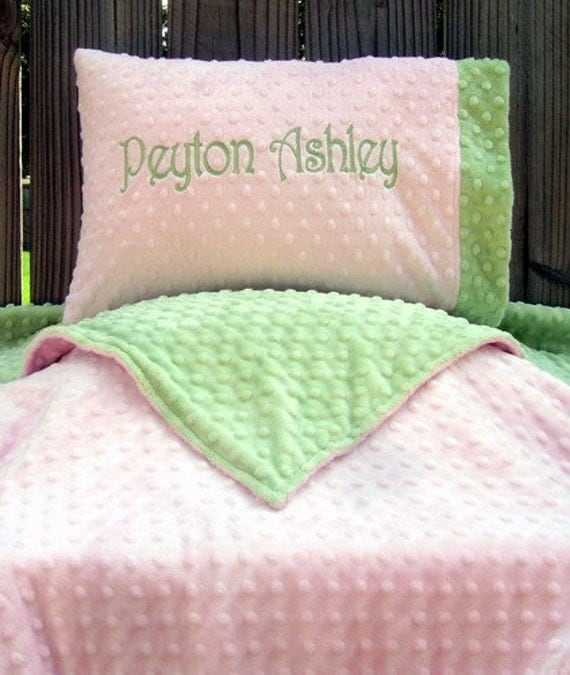 personalized toddler pillow and blanket set minky pillowcase. Black Bedroom Furniture Sets. Home Design Ideas