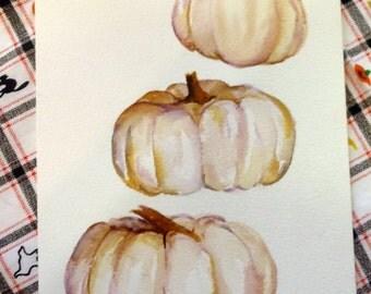 Ghost Pumpkins Watercolors Paintings original,  original watercolor artwork, kitchen Decor, 5 x 7, vegetable watercolor painting