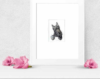Brindle Scottie Terrier Dog Art Original Drawing ACEO