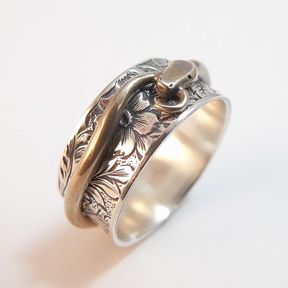 silver spinner ring snake ring ouroboros ring sterling silver