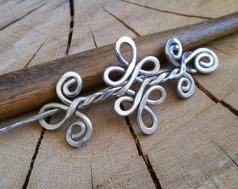 Celtic Knot Double Swirls and Curls Aluminum Shawl Pin, Scarf Pin, Hair Pin, Hair Slide, Barrette, Clip, Knitting, Hair Accessories, Women