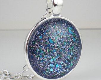 Aqua Lavender Glitter Confetti Nail Polish Necklace Jewelry Nail Polish Jewelry