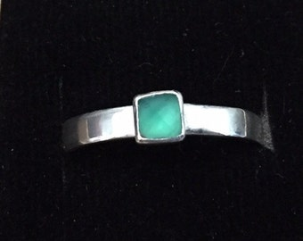 Delicate Green onyx and sterling ring