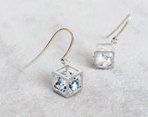 Sterling Silver Geometric Diamond Cube earrings, Minimalist earrings, Bridal earrings, Dainty Minimal Diamond Earrings, Gift for her
