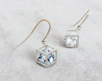 Sterling Silver Geometric Diamond Cube earrings, Minimalist earrings, Dainty Minimal Diamond Earrings, Anniversary Gift for her