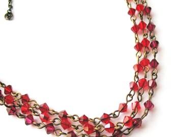 Valentine's Day Necklace Gift For Women - Red Swarovski Statement Jewelry For Women