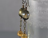 Antique Inspired Faceted Topaz and Smoky Gray Brown Crystal Earrings Featuring Antiqued Brass Filigree Caps Wire and Chain