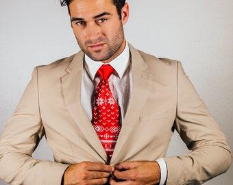 Holiday Sweater necktie. Men's Christmas Sweater tie. Red or green tie & white silkscreen print. Reindeer, poinsettia, snowflake design.