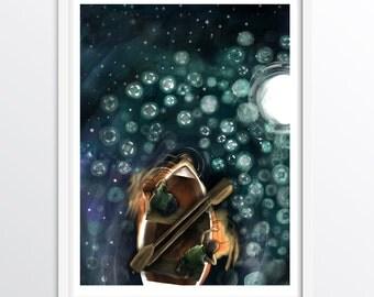 Nursery Print - boat adventure - Night Time phosphorescent jellyfish - A3 fine art print for children's walls