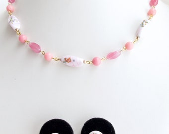 Japanese millefiore necklace, earrings set. Soft pinks. Japan millefiori art glass beads.