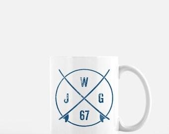 Gift Ideas- Coworker Gift- Personalized Mug- Surf Monogram Mug- 11oz Ceramic Mug- Surf Gifts- Monogram Gifts
