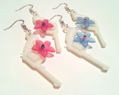 White Gumball Gun Charm Pistolera Earrings with Pink or Light Blue Flower