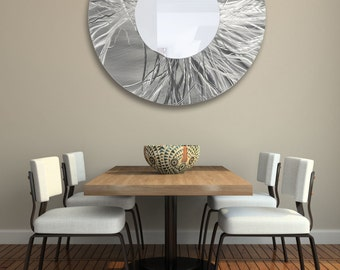 "Extra Large Silver Modern Metal Wall Art Mirror, Abstract Hanging Wall Decor, Handmade Circle Wall Mirror - Mirror 104 XXL 40"" by Jon Allen"