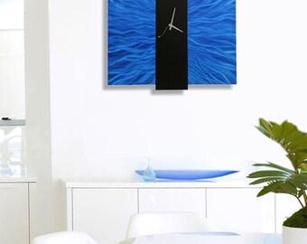Bright Blue & Black Modern Metal Wall Clock - Hanging Contemporary Functional Art -Abstract Bold Wall Timepiece-Royal Mechanism by Jon Allen