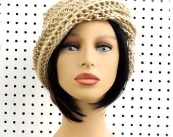 Womens Crochet Hat, Bone Beige Womens Hat Trendy, Crochet Beanie Hat, Beige Hat, African Hat, Steampunk Hat, Ombretta Beige Beanie Hat