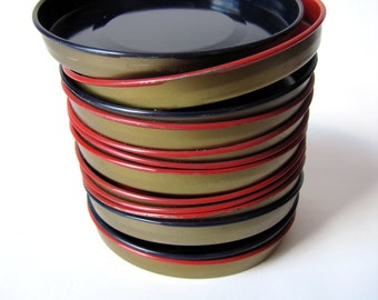 Vintage - Coasters - Mini Dishes - Metal - Enamel - Red - Navy -  1950's - 1960's - set of 13 - Hostess Gift - Under 20 dollars