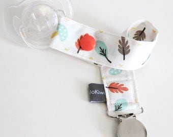 Pacifier clip - snap - clip - blue - coral - fall - mushrooms - leaves - cotton fabric - baby - boy - girl - baby gift - baby shower - dummy