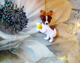 Whimsical Jack Russell Terrier Dog with antlers and tennis ball Christmas Ornament, handmade, clay, whimsical, tree, gift, present, JRT