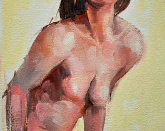 Female Figure Oil Painting on paper Title 'I'