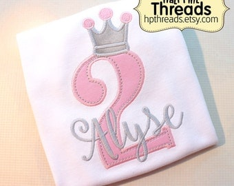 CUSTOM ORDER Personalized Second Birthday Number with Princess/Queen Crown Shirt or Bodysuit Photo Prop