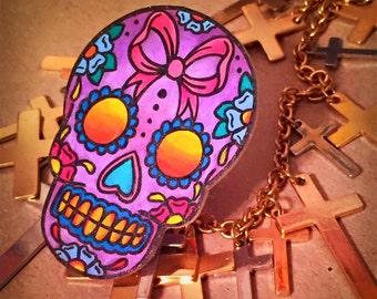 bright and bold ribbon sugar skull ring