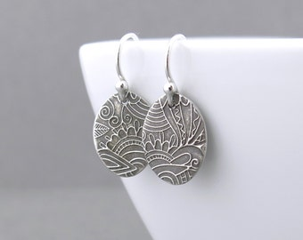 Tiny Silver Earrings Simple Silver Earrings Bohemian Jewelry Sterling Silver Handmade Jewelry Rustic Jewelry - Tiny Ovals
