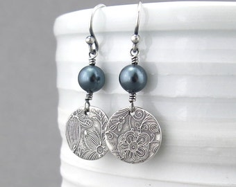 Tahitian Pearl Earrings Dangle Pearl Drop Earrings Birthstone Jewelry Handmade Jewelry Bohemian Jewelry Pearl Jewelry - Tracey