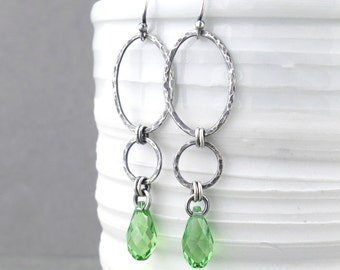 Long Green Earrings Silver Drop Earrings Sterling Silver Earrings Peridot Earrings August Birthstone Jewelry Gift for Women - Adorned Aubrey