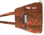 Red handbag, shoulder bag, red tote bag converts to hobo bag, paisley fabric purse, everyday bag, gift ideas for women