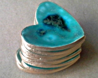 10  Bridal Shower favors Heart Ring Bowls Ceramic Malachite green edged in gold