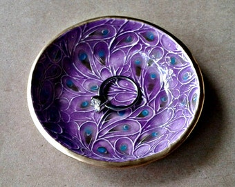 Ceramic Ring Bowl jewelry dish Peacock feathers Purple Gold edged