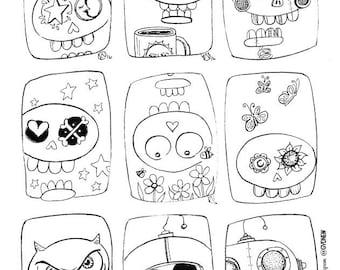 A Page of Calavers - Dia de Los Muertos Day of the Dead-Printable Coloring Page Instant Download