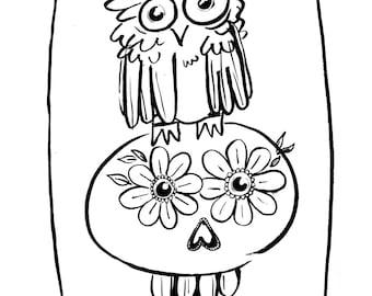 Owl and Calavera-Dia de Los Muertos Day of the Dead-Printable Coloring Page Instant Download