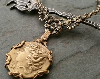 Brass cameo necklace, Bohemian Jewelry, Victorian Style Jewelry, Filigree Art Nouveau Necklace, OOAK, Gothic Necklace