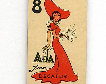 Ada from Decatur 1930s (2) Vintage Game Cards Gambling Piece for Scrapbooking, Assemblage, Ephemera, Creative Needs 1638