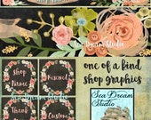 Watercolor chalkboard blossoms Etsy shop Banner and Avatar by Sea Dream Studio  OOAK