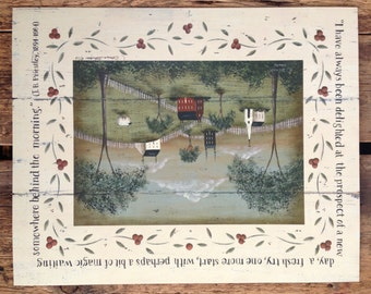 A NewDay, primitive pastoral landscape print; J.B. Priestley quotation. New England style folk art by Donna Atkins. FREE Shipping