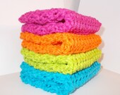 Crochet Dishcloth/ Washcloth - Handmade Wash Rag -Set of 4 Kitchen Dish Cloths-Extra large size-Bright Color
