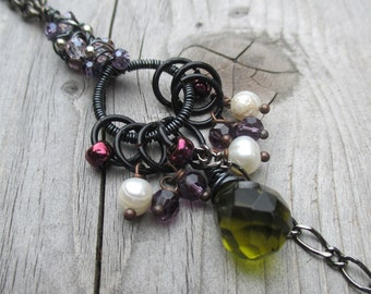 Wire Wrapped Pendant. Wire Wrapped Necklace. Gunmetal Necklace. Olive Green Necklace. Pearl Necklace. Pearl Jewelry. Beaded Pendant - ABIRA