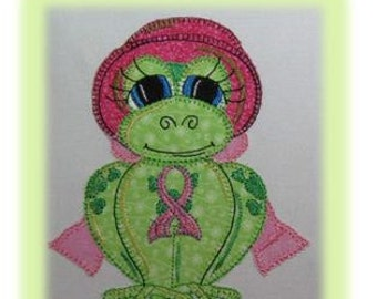 Breast Cancer Awareness Applique Frog - F.R.O.G. Embroidery Design