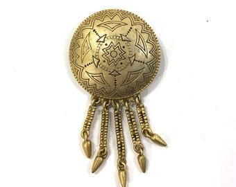 80s Concho Brooch / Vintage 1980s Artsy Ethnic Native American Inspired Shield Pin with Fringe Dangles / Primitive Avant Garde Brass Brooch