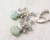 Green Kyanite and Labradorite Cluster Earrings