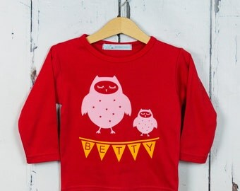 Personalized Owl T shirt - girls t shirt, birthday gift, woodland print, woodland animals, unisex clothing